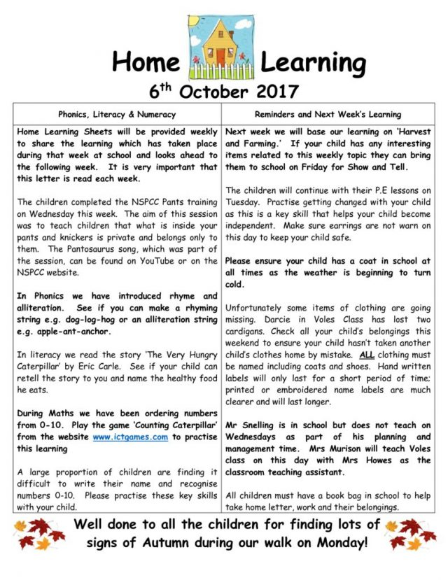 thumbnail of Home Learning 6 10 2017