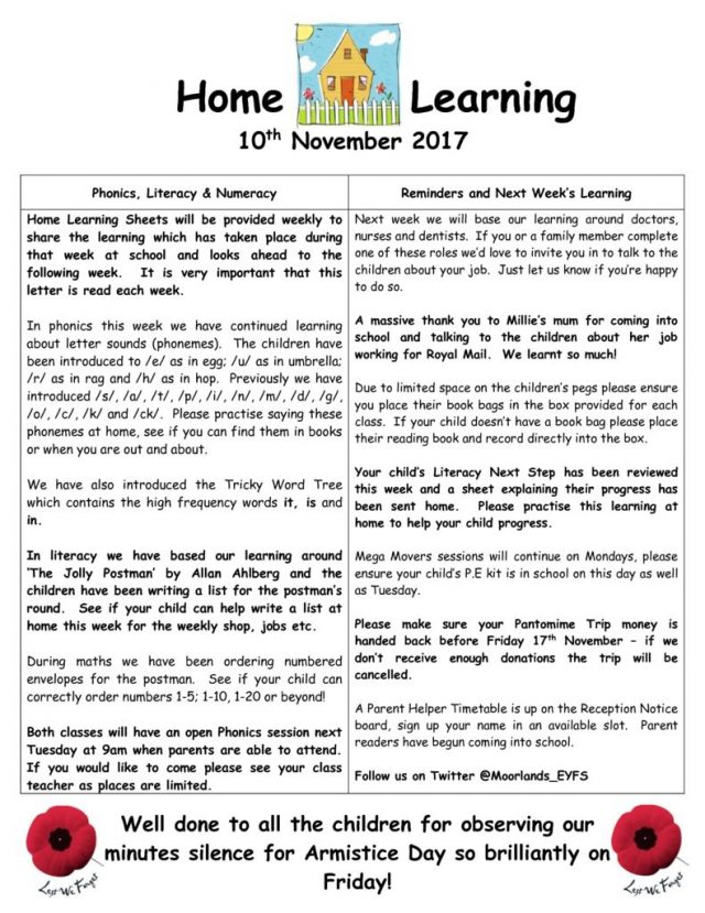thumbnail of Home Learning 10 11 2017