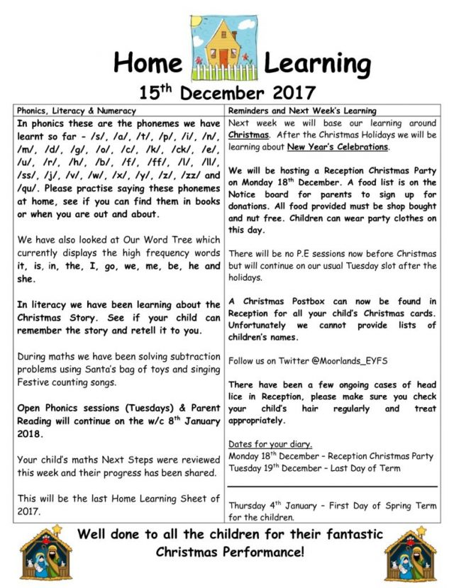 thumbnail of Home Learning 15 12 2017